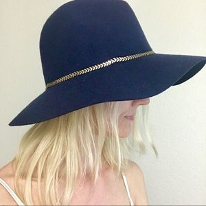 August Hat Company Blue Wool Gold Trim Chain Hat
